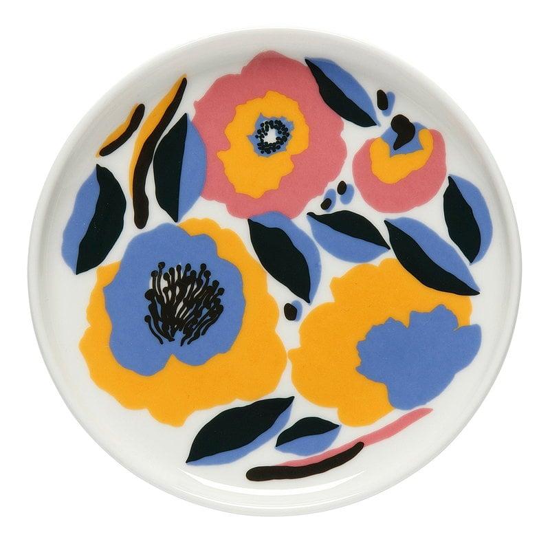 Marimekko Piatto Oiva - Rosarium 13,5 cm, bianco-rosso-giallo-blu