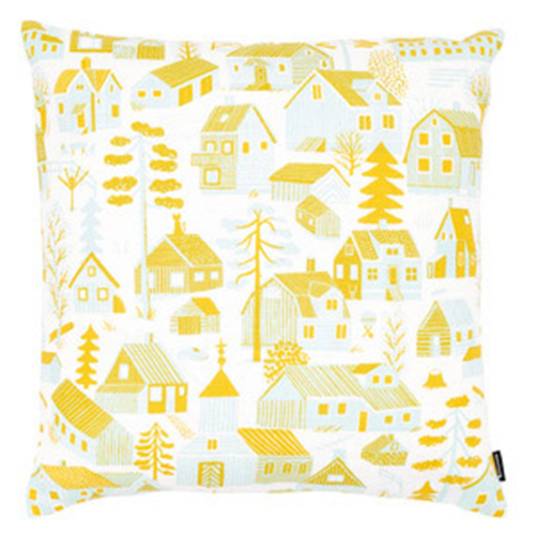 Kauniste Mökkilä cushion cover, yellow