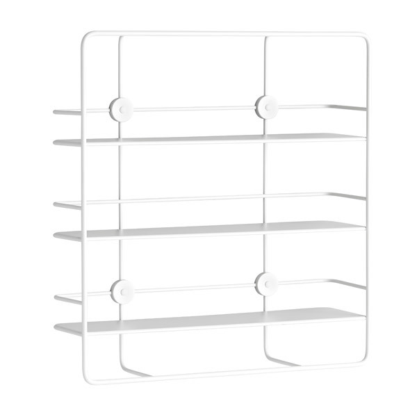 Woud Coupé wall shelf, rectangular, white