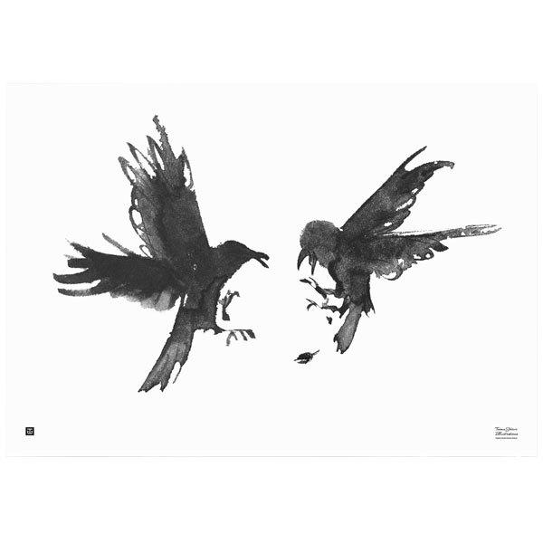 Teemu Järvi Illustrations Raging Ravens poster, 100 x 70 cm