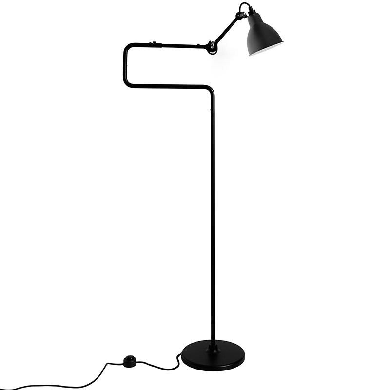 DCW éditions Lampe Gras 411 floor lamp, round shade, black