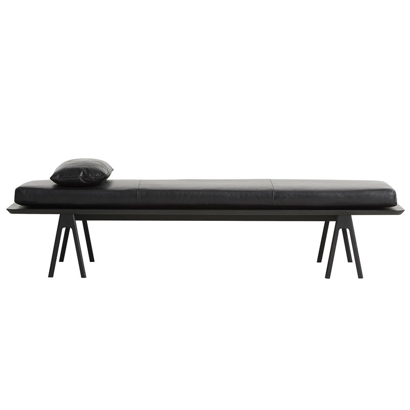 Woud Cuscino in pelle Level per daybed, nero
