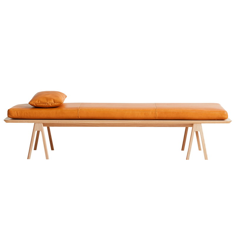 Woud Level cushion for daybed, cognac leather