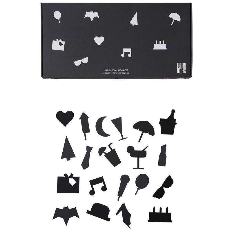 Design Letters Party icons for message board, black
