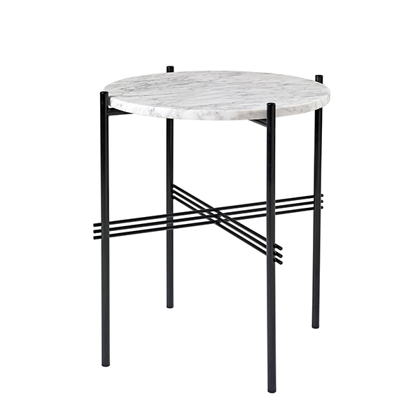 Gubi TS coffee table, 40 cm, black - white marble
