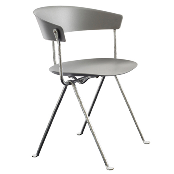 Magis Officina chair, galvanized, grey metallised