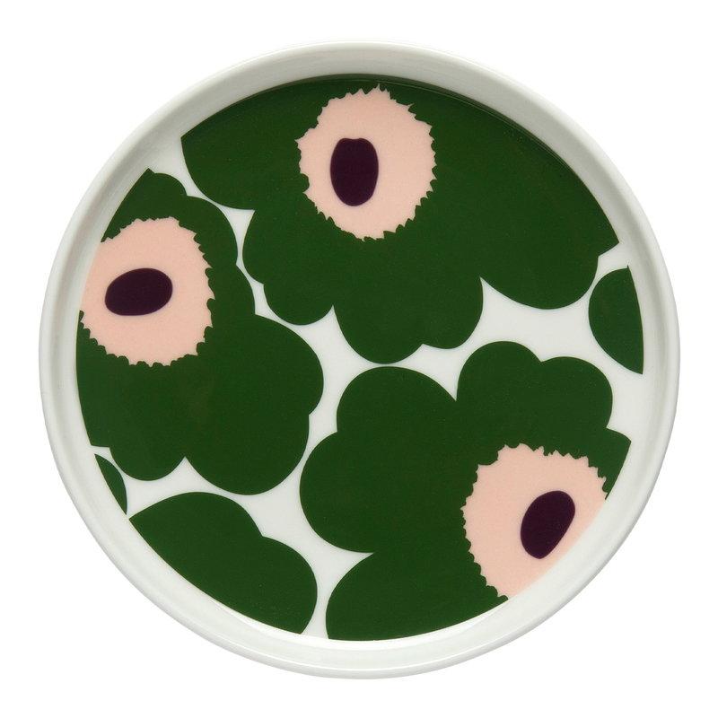 Marimekko Oiva - Unikko lautanen 13,5 cm, valkoinen - vihreä - persikka