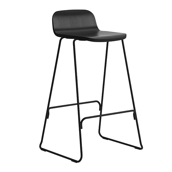 Normann Copenhagen Just Barstool 65 cm, with back rest, black