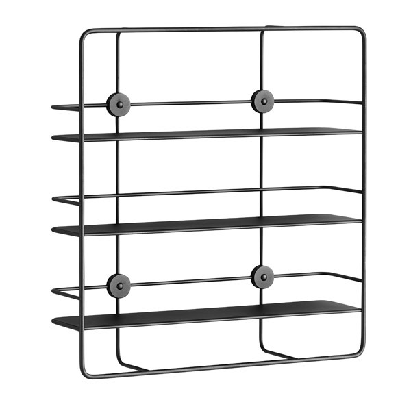 Woud Coupé wall shelf, rectangular, black