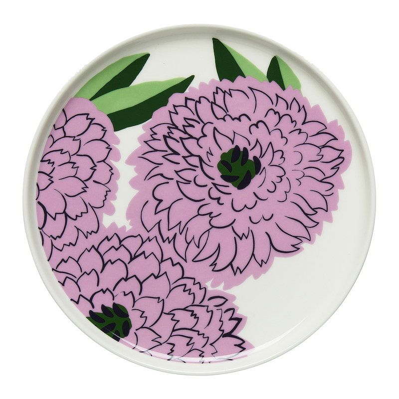 Marimekko Oiva Primavera盘子cm白色淡紫色绿色