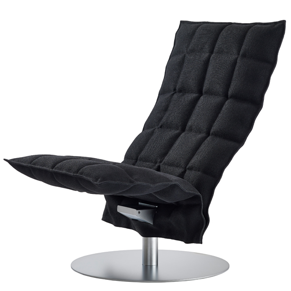 Woodnotes K chair, swivel base, narrow, black