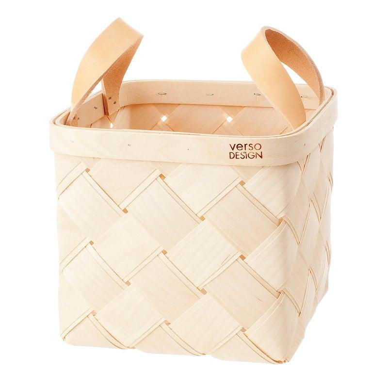 Verso Design Lastu birch basket S, leather handles