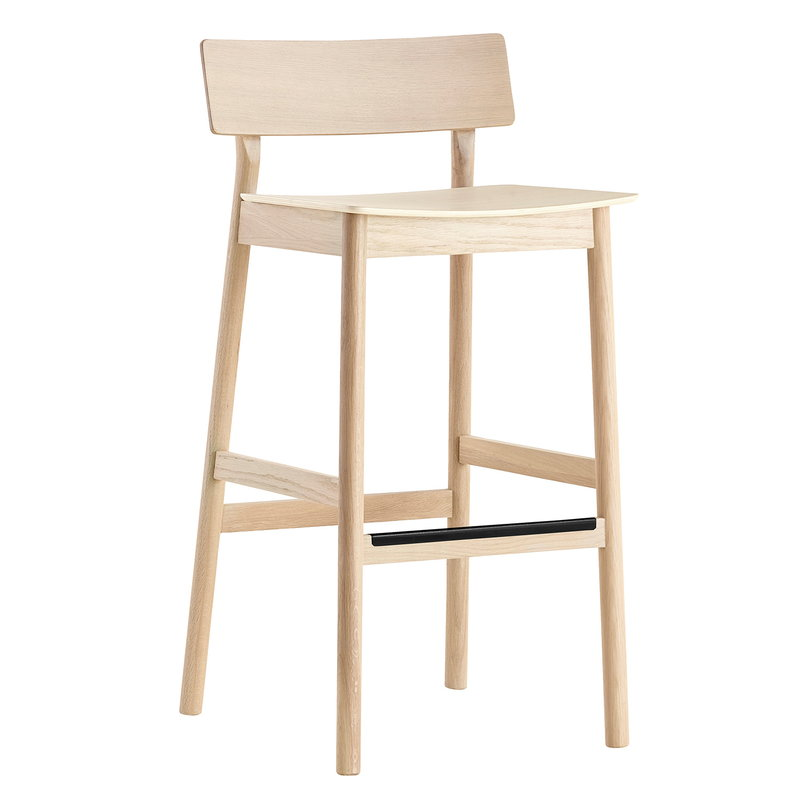 Woud Pause counter chair 2.0, 65 cm, white pigmented oak