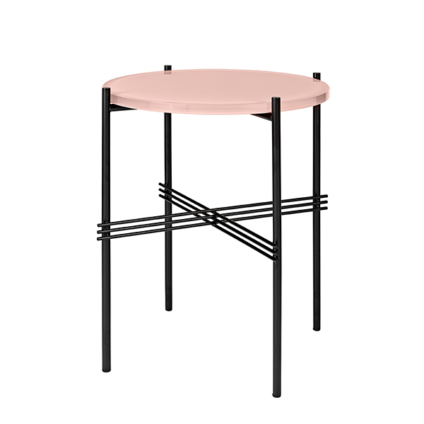 Gubi TS coffee table, 40 cm, black - pink glass