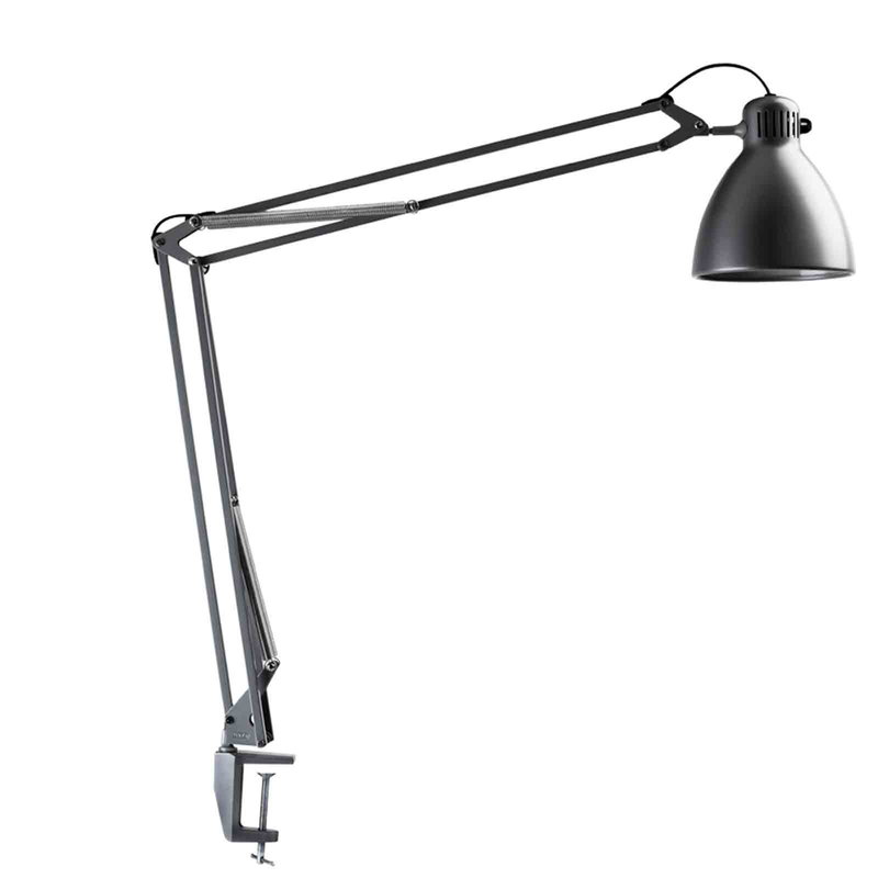 Luxo L-1 desk lamp, aluminium grey
