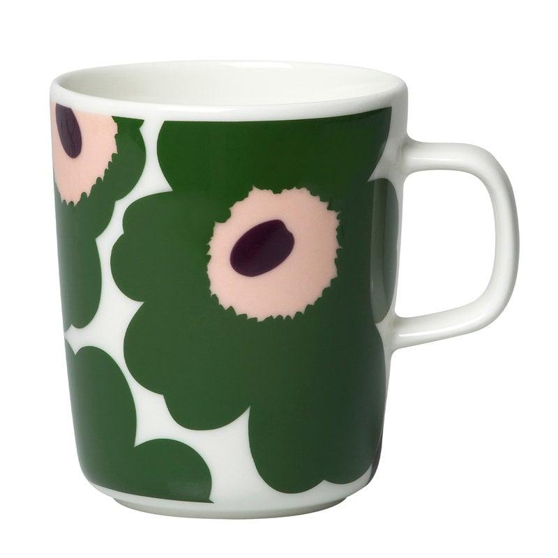 Marimekko Oiva - Unikko mug 2,5 dl, white - green - peach