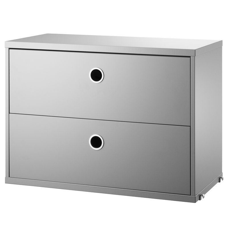 Tivoli String chest with 2 drawers, 58 x 30 cm, grey