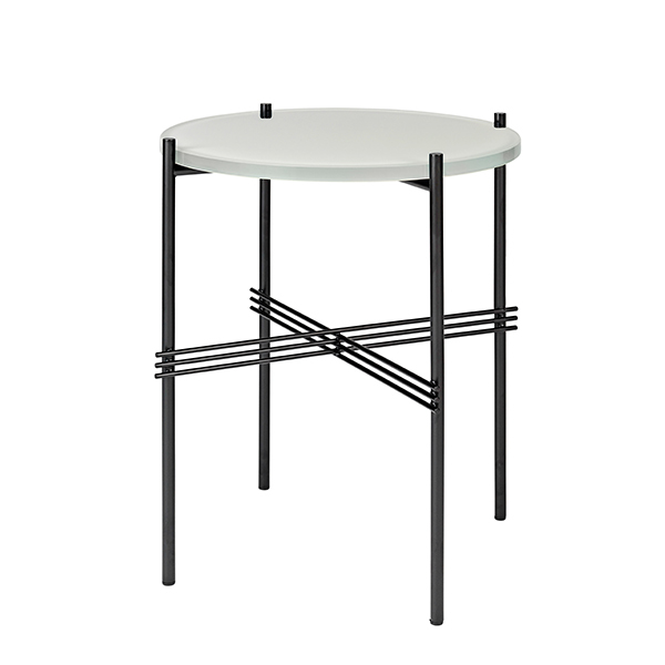 Gubi TS Coffee Table, 40 Cm, Black   White Glass