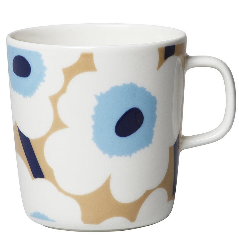 Marimekko Oiva - Unikko muki 4 dl, beige-valkoinen-sininen