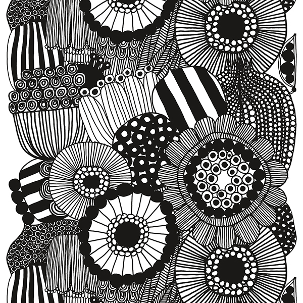 Marimekko Siirtolapuutarha fabric, black-white