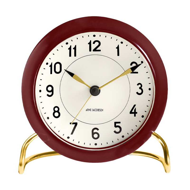 Arne Jacobsen AJ Station table clock with alarm, bordeaux