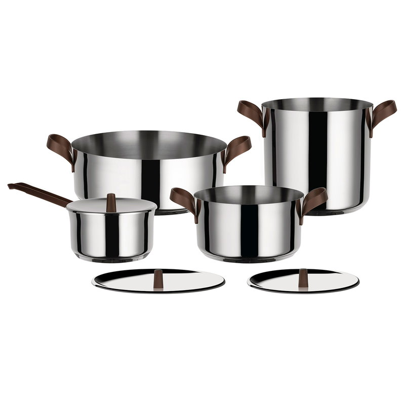 Alessi Edo cookware set, 4 pots with 3 lids