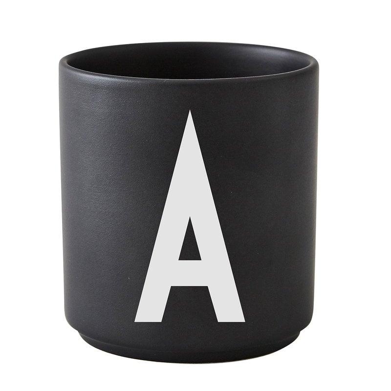 Design Letters Arne Jacobsen porcelain cup, black, A-Z