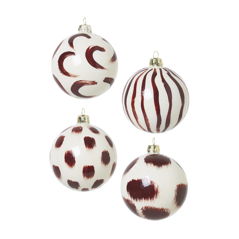 Ferm Living Christmas hand painted glass ornaments, 4 pcs, red brown