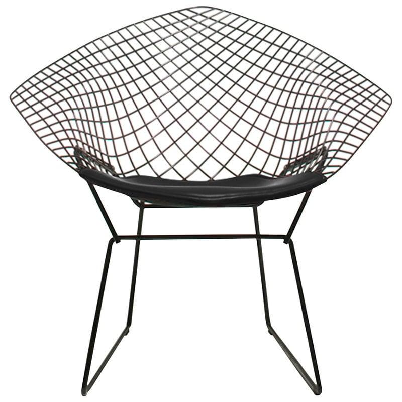 Knoll Bertoia Diamond tuoli, musta - musta istuintyyny