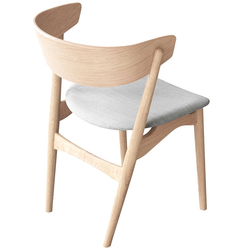 No 7 Chair, Soaped Oak   Grey Fabric