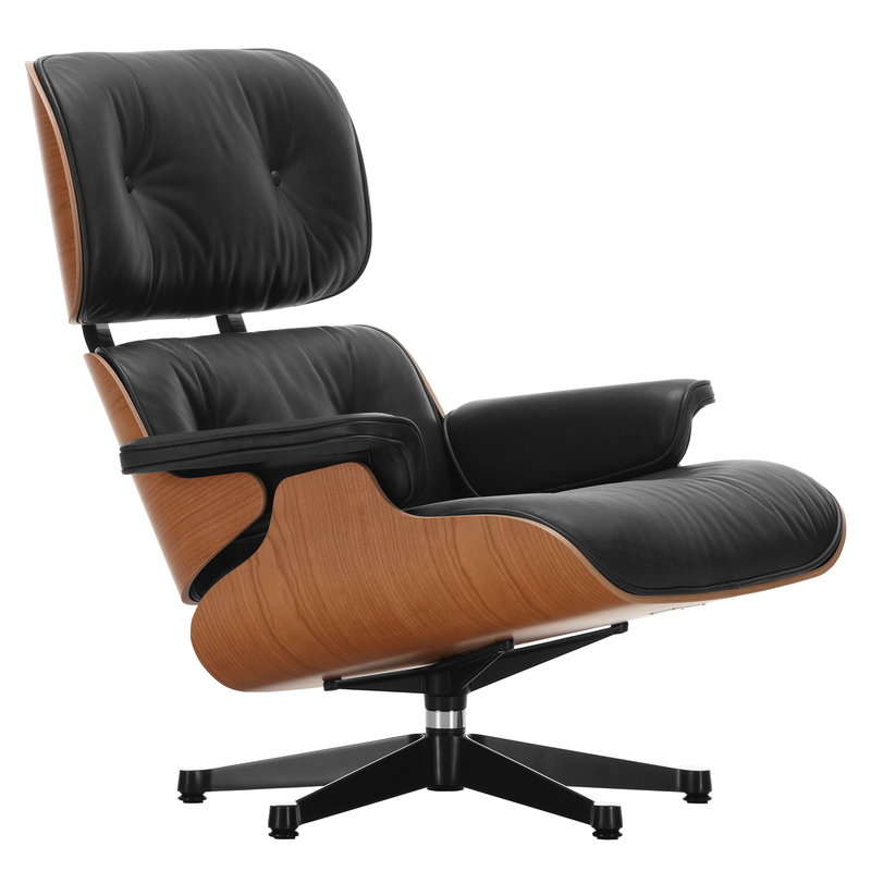 Vitra Eames Lounge Chair, new size, American cherry - black leather
