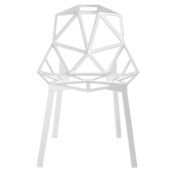 Magis Sedia Chair One, bianca, gambe in alluminio verniciate