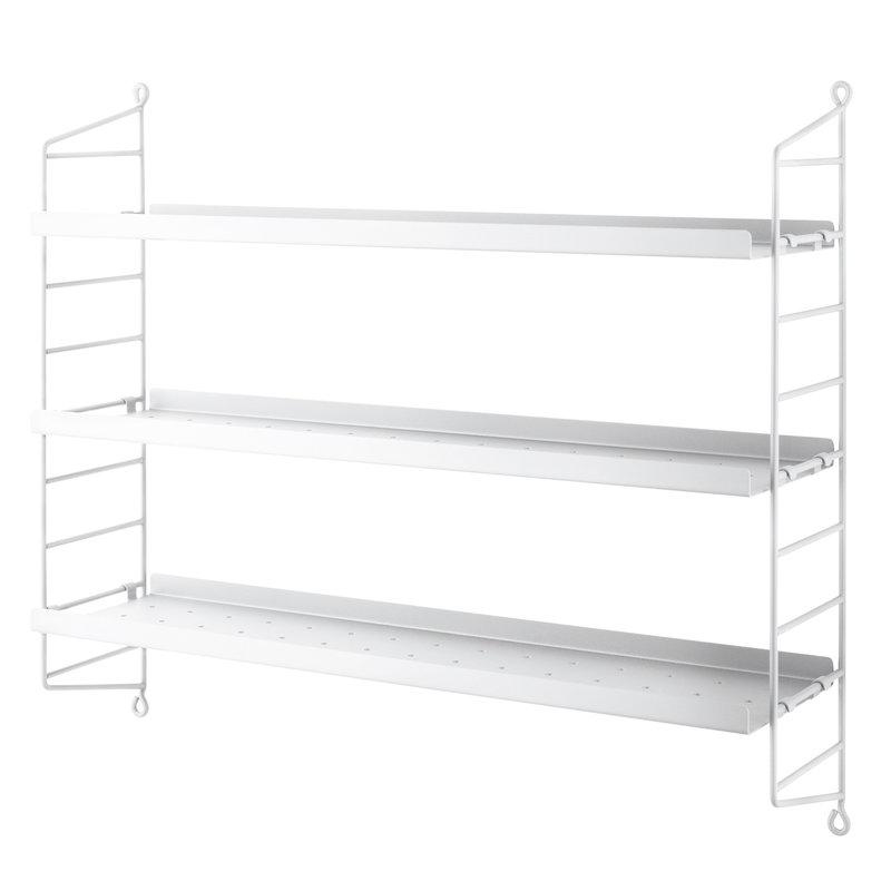 String Furniture String Pocket shelf, metal, white