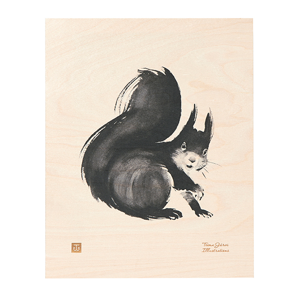 Teemu Järvi Illustrations Squirrel plywood poster