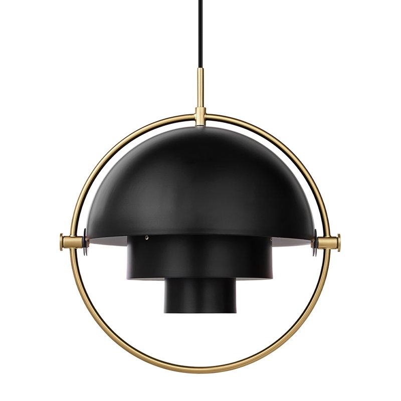 Gubi Multi-Lite pendant, small, brass - black semi matt