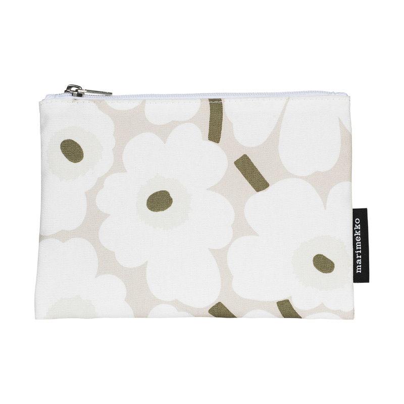 Marimekko Kaika Mini Unikko pouch, beige-white-grey green