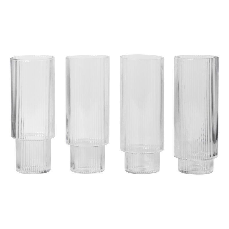Ferm Living Ripple korkeat lasit, 4 kpl, kirkas