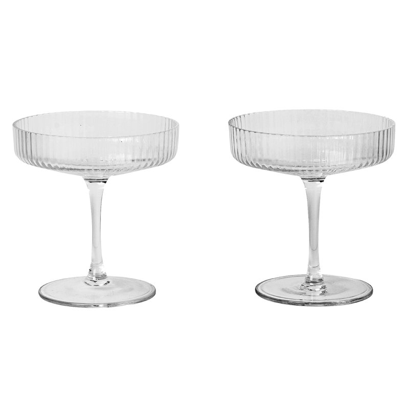 Ferm Living Ripple champagne saucers, 2 pcs
