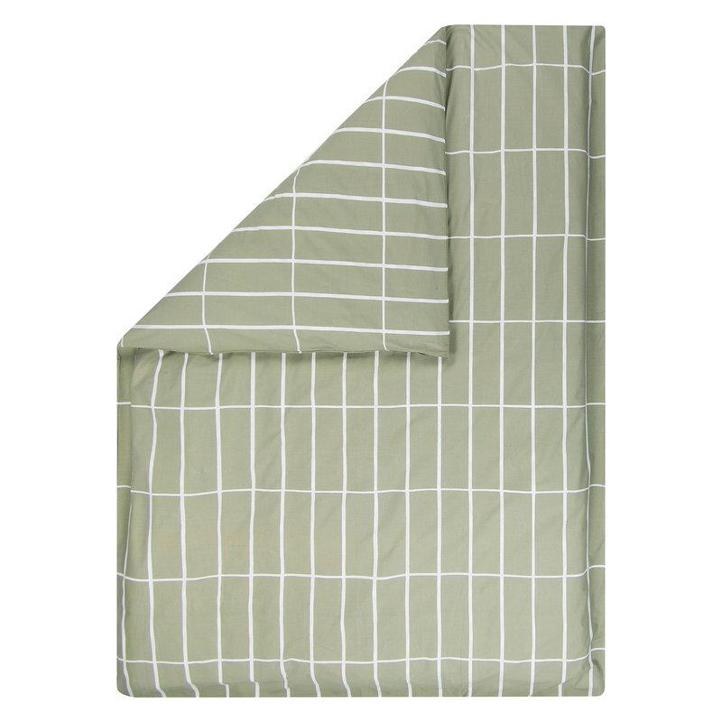 Marimekko Tiiliskivi pussilakana 150 x 210 cm, harmaanvihreä - valkoinen