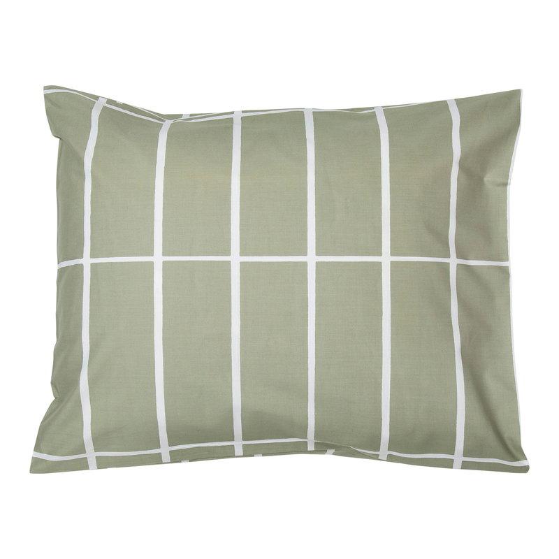 Marimekko Tiiliskivi tyynyliina, harmaanvihreä - valkoinen