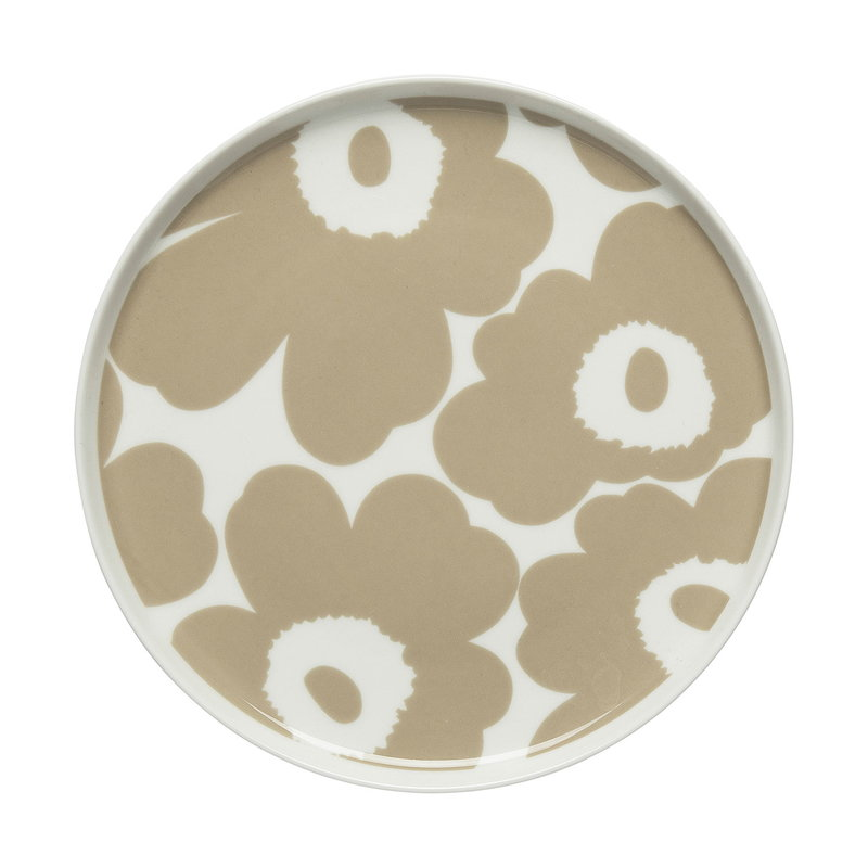 Marimekko Oiva - Unikko plate 20 cm, white - beige