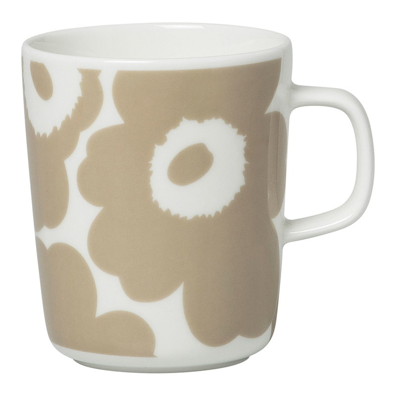 Marimekko Oiva - Unikko mug 2,5 dl, white - beige