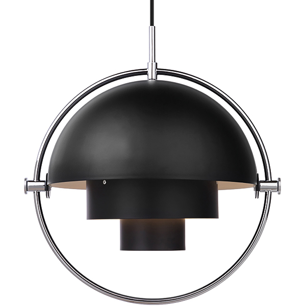 Gubi Multi-Lite pendant, chrome - black