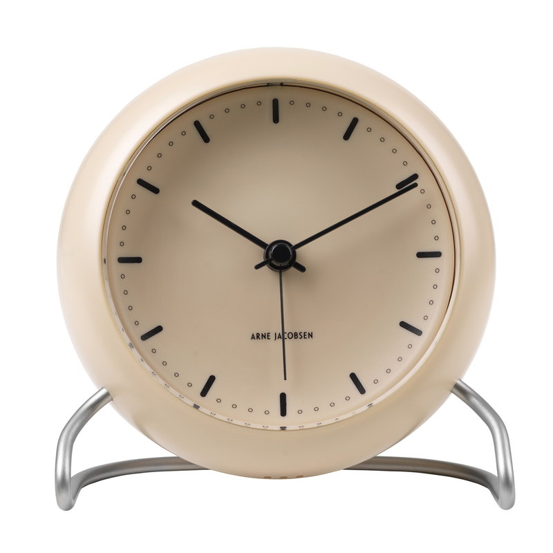 Arne Jacobsen AJ City Hall table clock with alarm, sandy beige