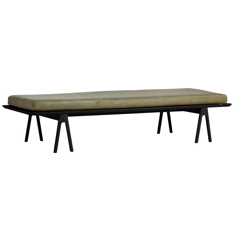 Woud Level daybed, black oak - moss green leather