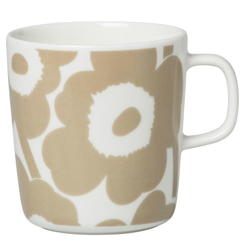 Marimekko Oiva - Unikko mug 4 dl, white - beige