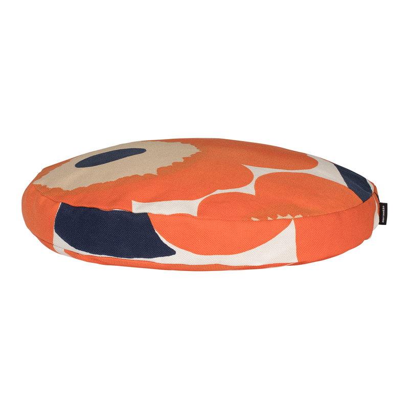 Marimekko Unikko pillow, round, beige-orange-dark blue