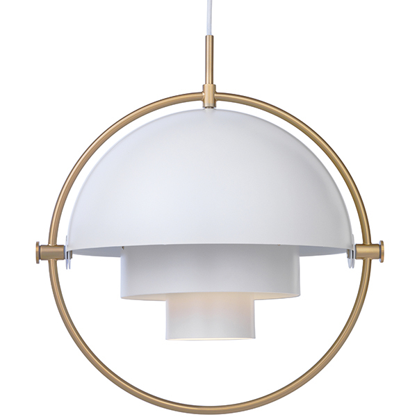 Multi lite pendant brass white