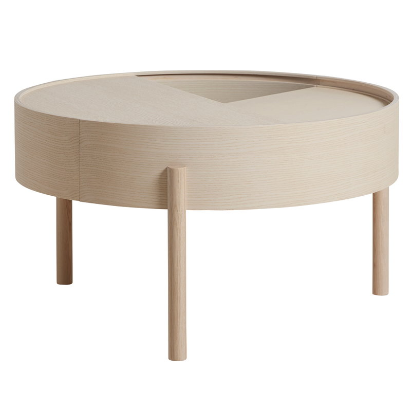 Woud Arc coffee table, white pigmented ash