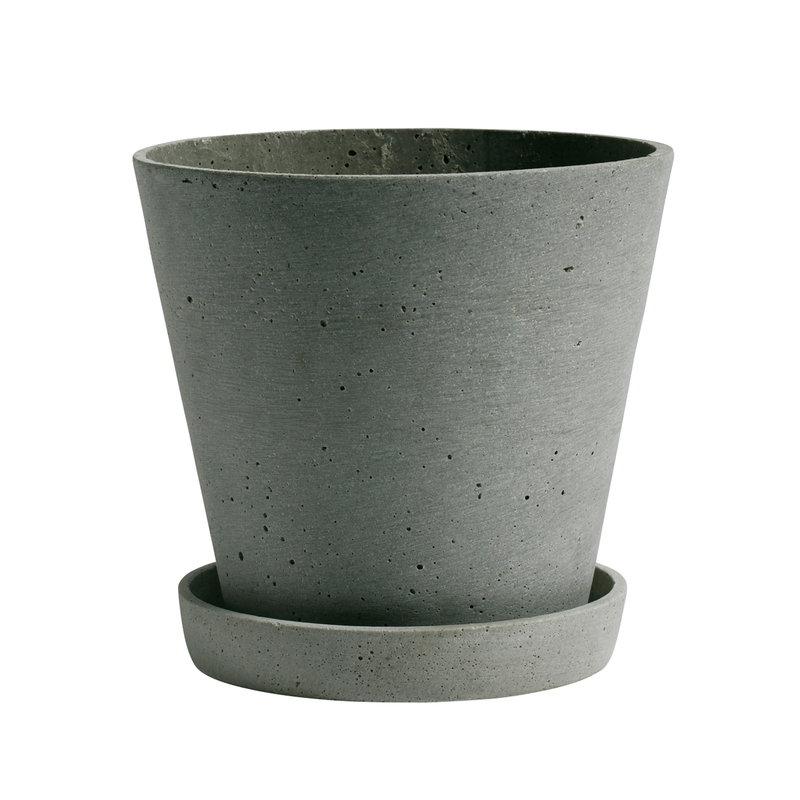 Hay Flowerpot and saucer, L, green